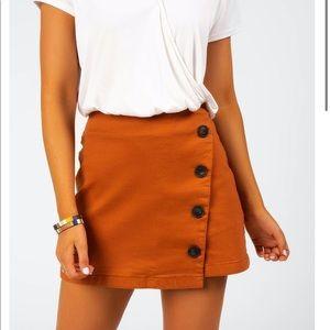 Francesca's Burnt Orange Button Skirt